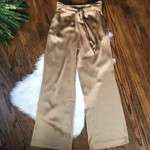 St. John Couture Gold/Bronze Wide Leg Tie Pants 12